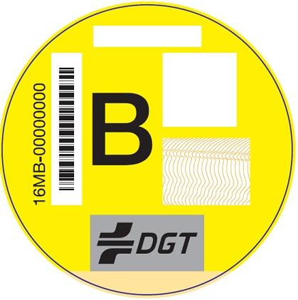 Etiqueta Ambiental B Amarilla para turismos y comerciales ligeros, clasificados en el Registro de Vehículos como gasolina EURO 3/III o Diésel EURO 4/IV o 5/V. Vehículos de más de 8 plazas y transporte de mercancías, clasificados en el Registro de Vehículos con nivel de emisiones del vehículos sea Euro IV/4 o V/5, indistintamente del tipo de combustible. Vehículos ligeros (categoría L), clasificados en el Registro de Vehículos con nivel de emisiones del vehículos Euro II/2.