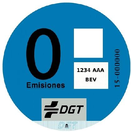 Distintivo para vehículos eléctricos de batería (BEV), vehículo eléctrico de autonomía extendida (REEV), vehículo eléctrico híbrido enchufable (PHEV) con una autonomía mínima de 40 kilómetros o vehículos de pila de combustible.